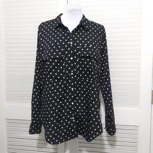 Kut from the Kloth Black White Polka Dot Blouse XL